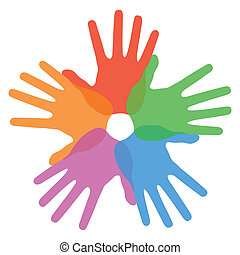 Circle of colorful hand prints, abstract illustration - ...