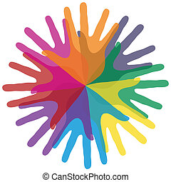 Circle of colorful hands. - Circle of colorful overlapping...