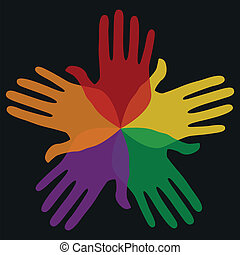 Circle of colorful hands. - Overlapping transparent colorful...