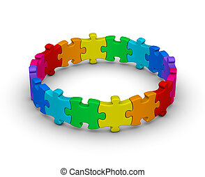 circle of colorful jigsaw puzzles
