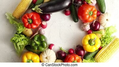 Circle of colorful vegetables mix - Top view of round layout...