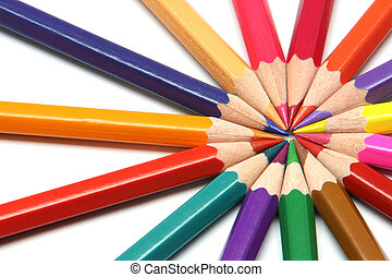 circle of colour pencils