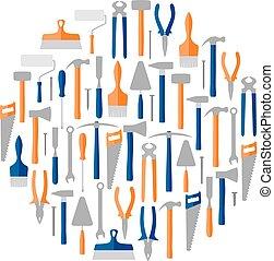 Circle of construction tools, vector illustration