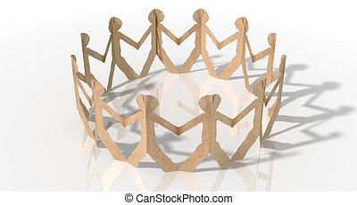 Circle Of Cutout Paper Cardboard Men - A circle of brown...