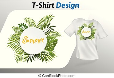 Circle of fern leaves with word summer in the middle t-shirt print. Mock up t-shirt design template. Vector template, isolated on white background.
