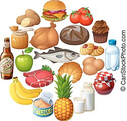Circle of food stuff isolated on white background. Cartoon vector illustration