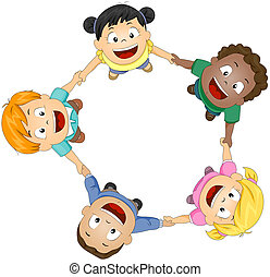 Circle of Friends - Illustration of Kids Joining Hands to...