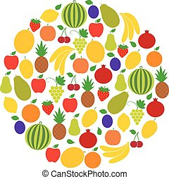 Circle of fruits and berries, vector illustration