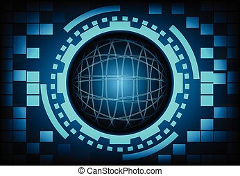 Circle of globe with ring and gears in technology background, Vector illustration.