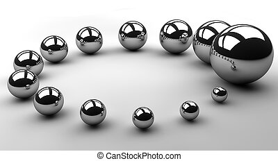 Circle of Growth - Chrome spheres increasing in size