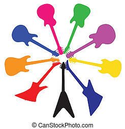 Circle Of Guitars - A collection of brightly coloured guitar...