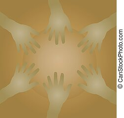 circle of  hands as team