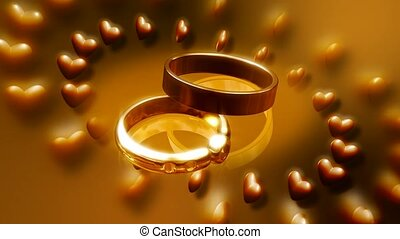 Circle of hearts surrounding wedding rings