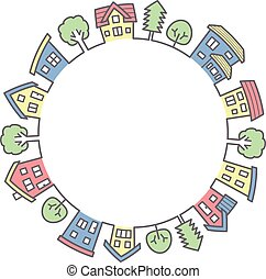 circle of houses and trees - line drawing and color -