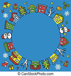 circle of houses and trees - line drawing and color - Christmas version of blue background