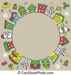 circle of houses and trees - line drawing and color - Christmas version of khaki background