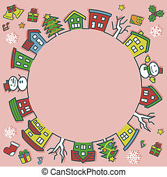 circle of houses and trees - line drawing and color - Christmas version of pink background