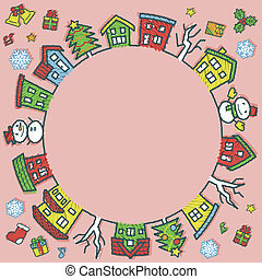 circle of houses and trees - rough line and scribble color - Christmas version of pink background