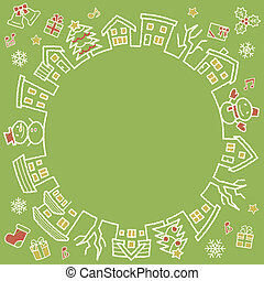 circle of houses and trees - rough line and scribble color - four colors Christmas version of green background