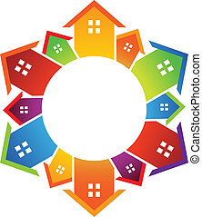 Circle of houses - Group of neighbor color houses