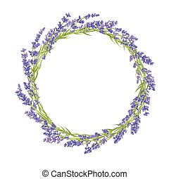 Circle of lavender flowers - Circle of hand drawn lavender...