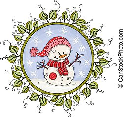 Circle of leaves border frame with cute snowman
