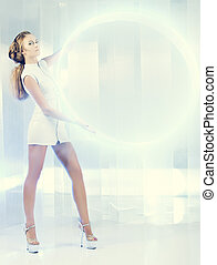 circle of light - Beautiful young woman in white latex...