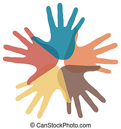 Circle of loving hands. - Circle of colorful overlapping...