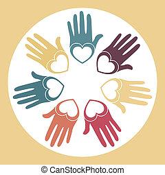 Circle of loving hands. - Circle of loving hands within a...