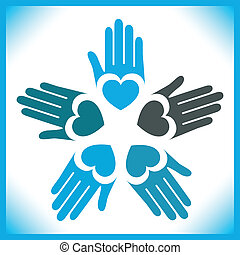 Circle of loving hands design. - Circle of loving hands...