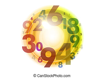 circle of numbers - yellow circles of color numbers