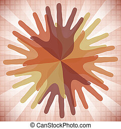 Circle of overlapping hands. - Circle of overlapping hands...