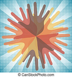Circle of overlapping hands design.