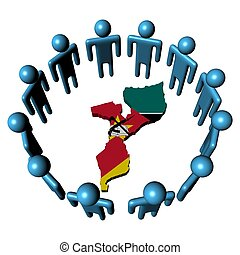 Circle of people and Mozambique map flag - Circle of ...