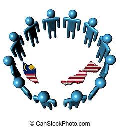 Circle of people around Malaysia map flag
