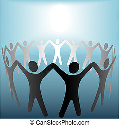 Circle of People Hold Hands Under Bright Copyspace Spot on...