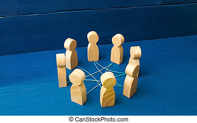 Circle of people interconnected by curves lines. cooperation, teamwork, training. Staff, community meeting. Collaboration and cooperation, participation. Social connections, joining to solve tasks