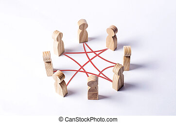 Circle of people interconnected by red curves lines. cooperation, teamwork, training. Staff, community meeting. Collaboration and cooperation, participation. Social connections, joining to solve tasks