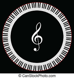 Circle of Piano Keys With Treble Clef Vector Illustration