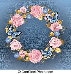 circle of pink roses