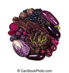 Circle of purple and blue fruits and vegetables