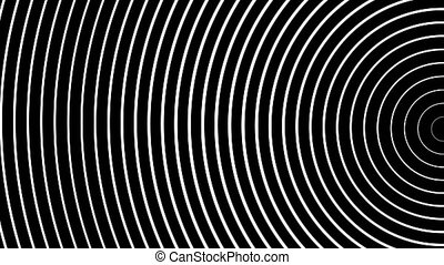 Circle of radiating the pulsed white waves. Animation of...