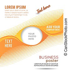 Circle on orange wave background - abstract flyer design