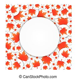 Circle on the background of maple leaves