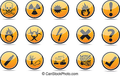 Isolated vector orange Circle Danger sign collection with black border, reflection and shadow on white background