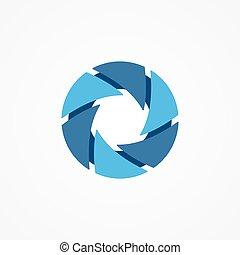 circle., organizzato, brutale, serrations, logotipo