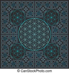 circle outline flower of life fractal sacred geometry -...