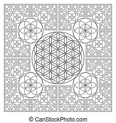 circle outline flower of life fractal sacred geometry - ...