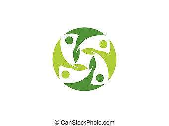circle people plant ecology vector logo