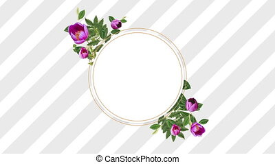 photo frame for copy space with decorative red flowers -...